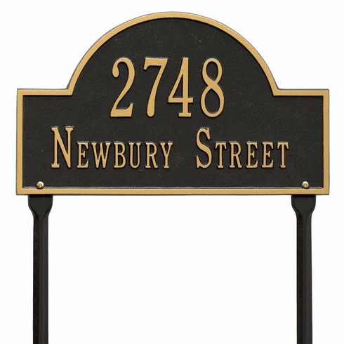 Arch Marker Standard Lawn Two Line Plaque in Black and Gold