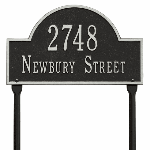 Arch Marker Standard Lawn Two Line Plaque in Black and Silver
