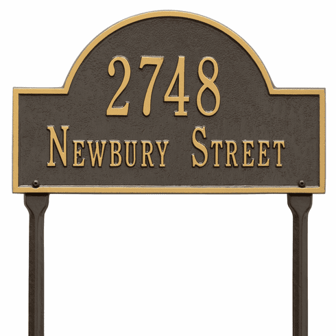 Arch Marker Standard Lawn Two Line Plaque in Bronze and Gold