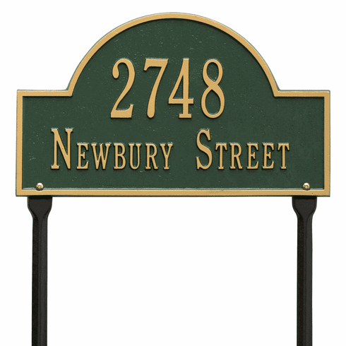Arch Marker Standard Lawn Two Line Plaque in Green and Gold