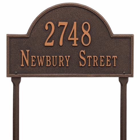 Arch Marker Standard Lawn Two Line Plaque in Oil Rubbed Bronze