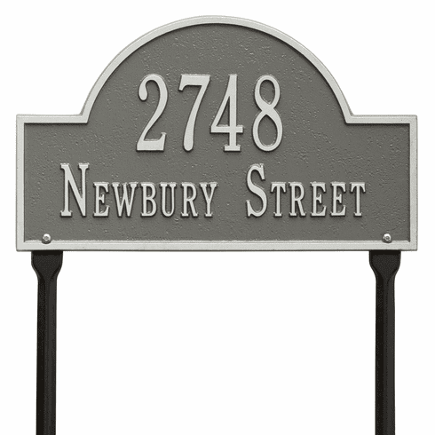 Arch Marker Standard Lawn Two Line Plaque in Pewter and Silver