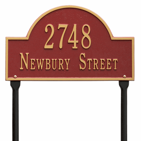 Arch Marker Standard Lawn Two Line Plaque in Red and Gold