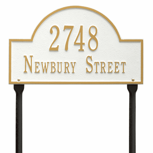 Arch Marker Standard Lawn Two Line Plaque in White and Gold