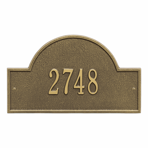 Arch Marker Standard Wall One Line Address Plaque in Antique Brass