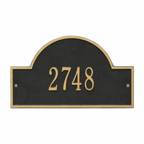 Arch Marker Standard Wall One Line Address Plaque in Black and Gold