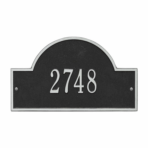Arch Marker Standard Wall One Line Address Plaque in Black and Silver