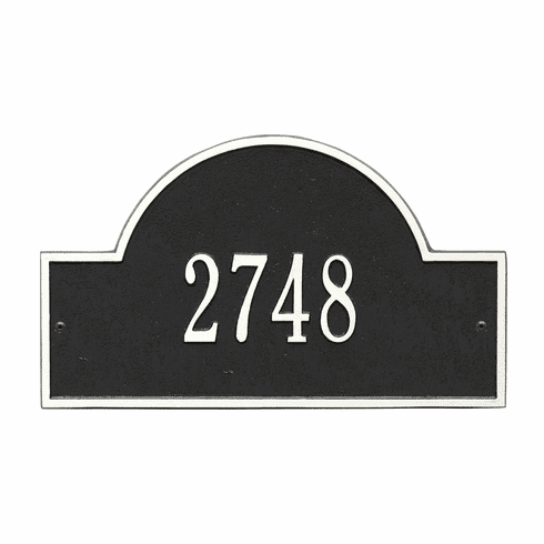Arch Marker Standard Wall One Line Address Plaque in Black and White