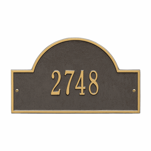 Arch Marker Standard Wall One Line Address Plaque in Bronze and Gold