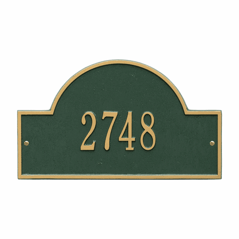 Arch Marker Standard Wall One Line Address Plaque in Green and Gold