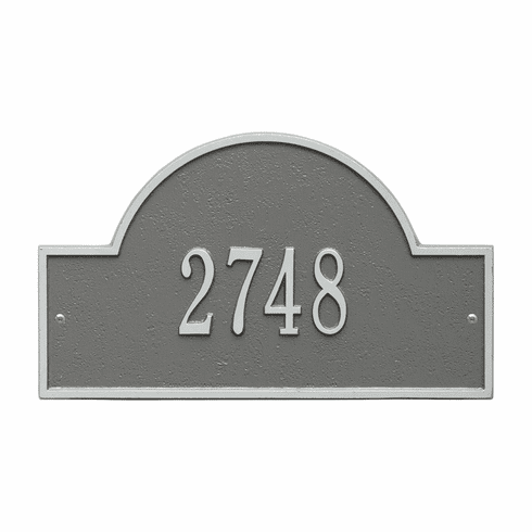 Arch Marker Standard Wall One Line Address Plaque in Pewter and Silver