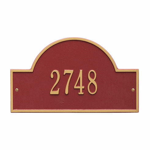 Arch Marker Standard Wall One Line Address Plaque in Red and Gold