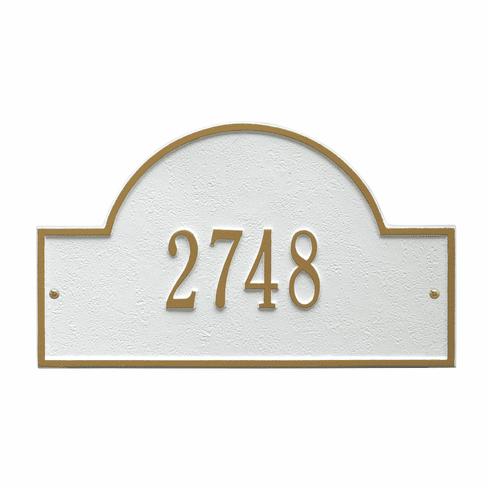 Arch Marker Standard Wall One Line Address Plaque in White and Gold