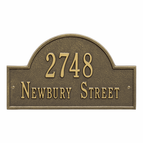 Arch Marker Standard Wall Two Line Address Plaque in Antique Brass