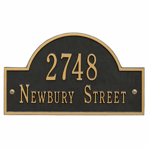 Arch Marker Standard Wall Two Line Address Plaque in Black and Gold