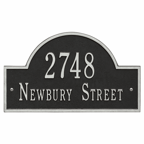 Arch Marker Standard Wall Two Line Address Plaque in Black and Silver
