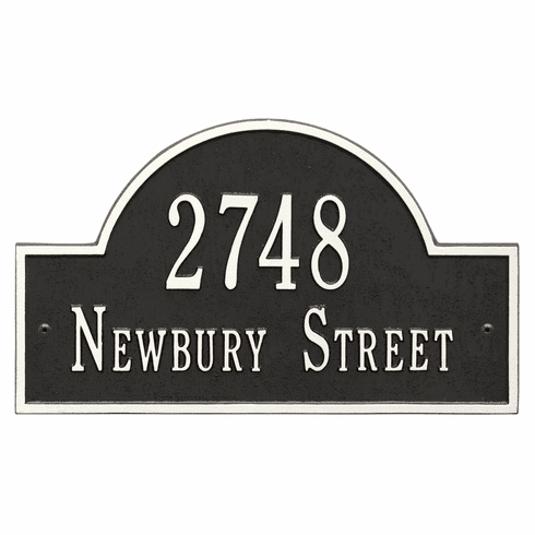 Arch Marker Standard Wall Two Line Address Plaque in Black and White
