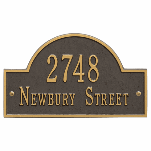 Arch Marker Standard Wall Two Line Address Plaque in Bronze and Gold