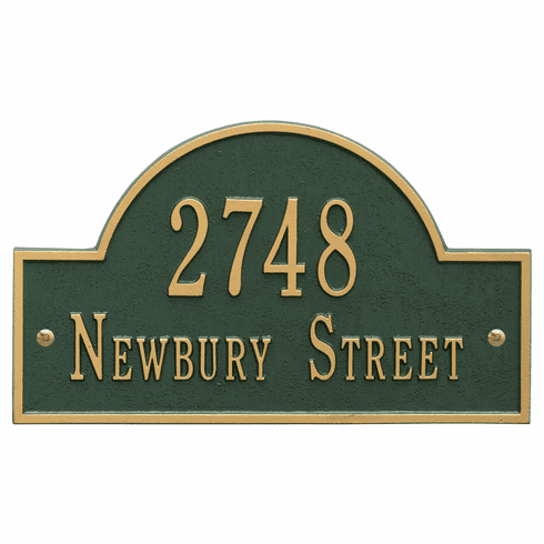 Arch Marker Standard Wall Two Line Address Plaque in Green and Gold