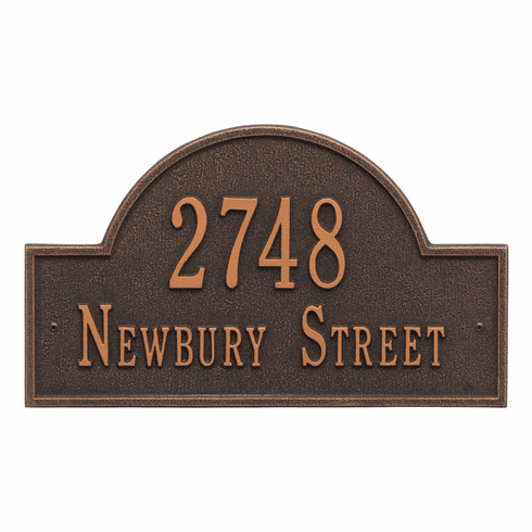 Arch Marker Standard Wall Two Line Address Plaque in Oil Rubbed Bronze