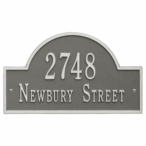 Arch Marker Standard Wall Two Line Address Plaque in Pewter and Silver