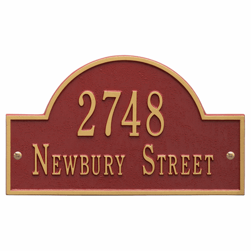 Arch Marker Standard Wall Two Line Address Plaque in Red and Gold