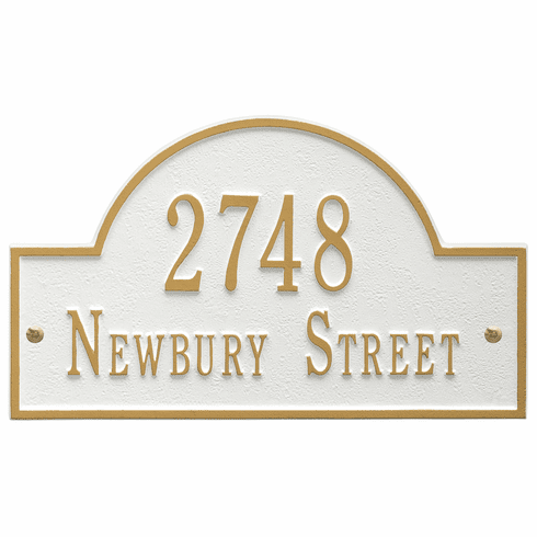 Arch Marker Standard Wall Two Line Address Plaque in White and Gold