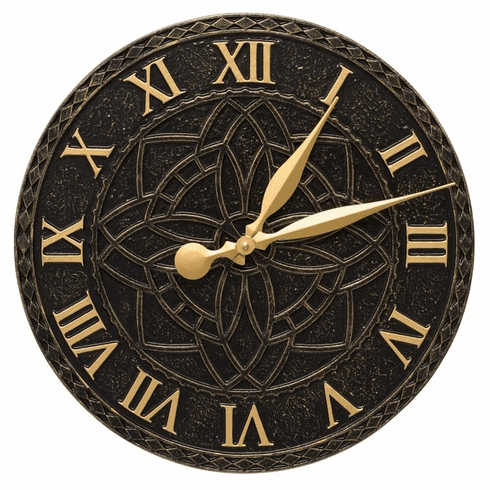 Artisan 16 inches Indoor Outdoor Wall Clock - Black and Gold