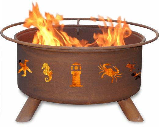 Atlantic Coast Theme Fire Pit - Lighthouse & Crabs