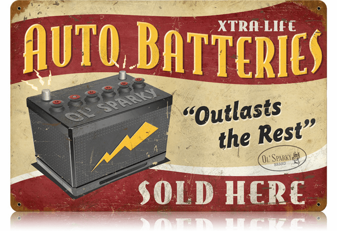 Auto Batteries Sign - Retro Battery Ad Sign