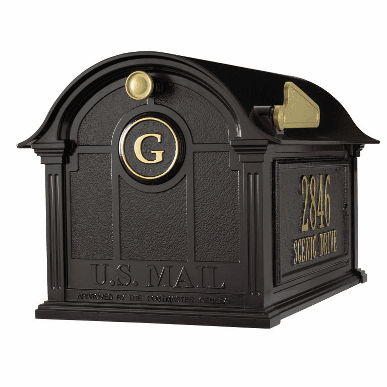 Balmoral Mailbox Side Plaques And Monogram Package in Black