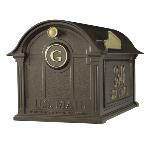 Balmoral Mailbox Side Plaques And Monogram Package in Bronze