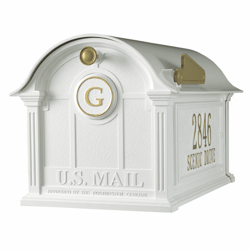 Balmoral Mailbox Side Plaques And Monogram Package in White