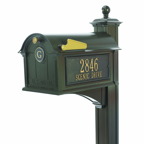 Balmoral Mailbox Side Plaques, Monogram & Post Package in Bronze