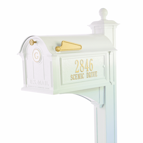 Balmoral Mailbox Side Plaques, Monogram & Post Package in White