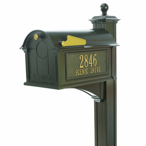 Balmoral Mailbox Side Plaques, Post Package in Bronze