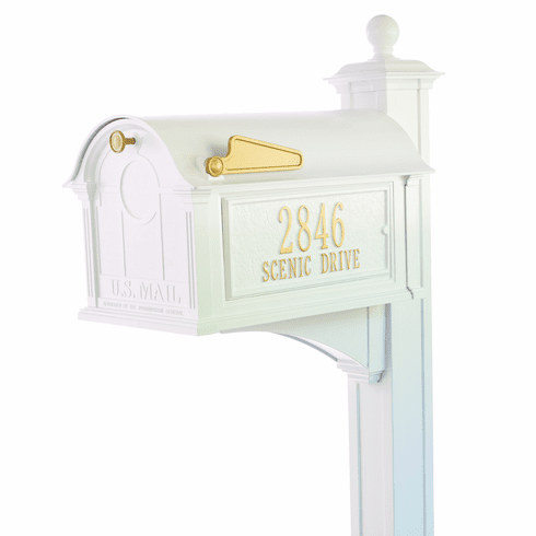 Balmoral Mailbox Side Plaques, Post Package in White