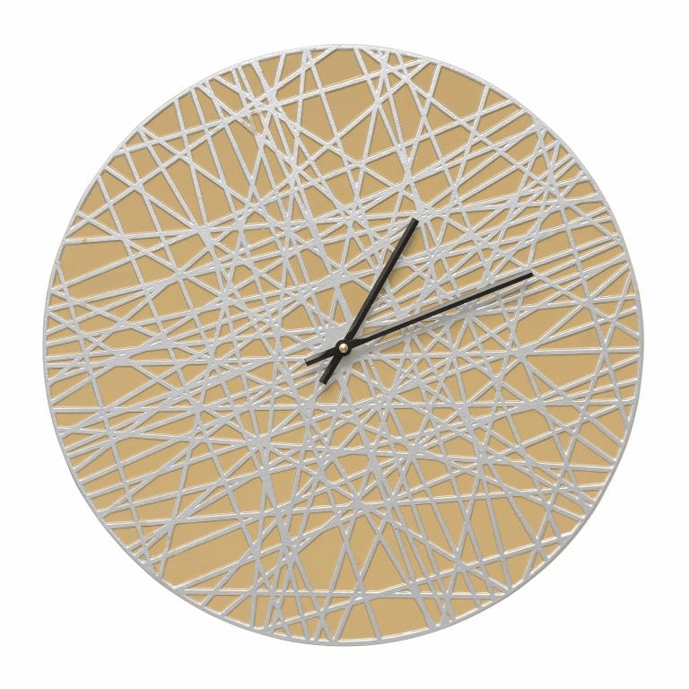 Banded 16 inches Indoor Outdoor Wall Clock - Curry and Silver