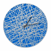 Banded 16 inches Indoor Outdoor Wall Clock - Dark Blue and Silver