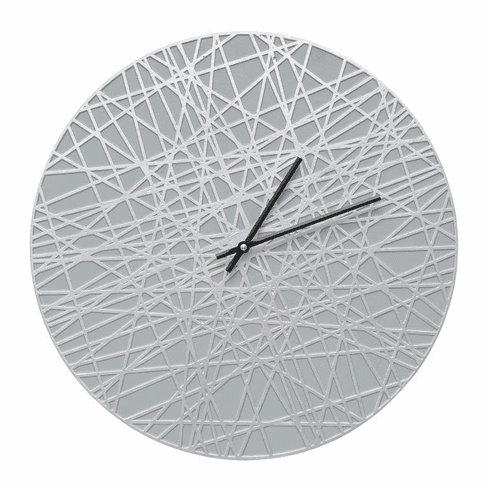 Banded 16 inches Indoor Outdoor Wall Clock - Grey and Silver