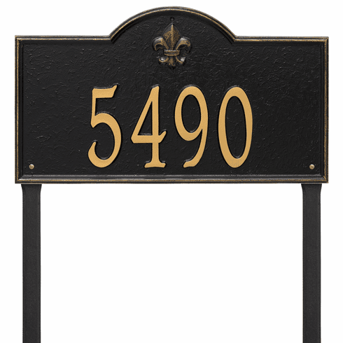 Bayou Vista Estate Lawn One Line Plaque in Black and Gold