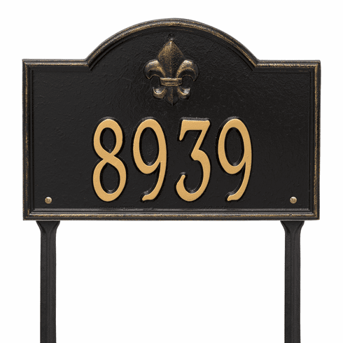 Bayou Vista Standard Lawn One Line Plaque in Black and Gold