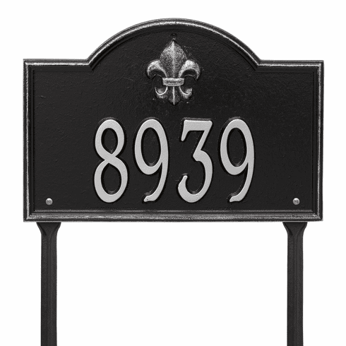 Bayou Vista Standard Lawn One Line Plaque in Black and Silver