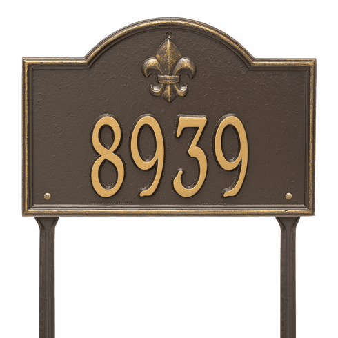 Bayou Vista Standard Lawn One Line Plaque in Bronze and Gold