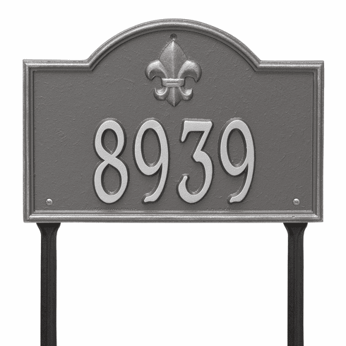 Bayou Vista Standard Lawn One Line Plaque in Pewter Silver