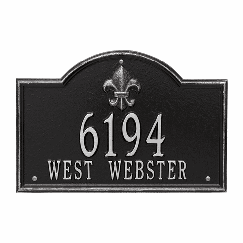 Bayou Vista Standard Wall Two Line Plaque in Black and Silver
