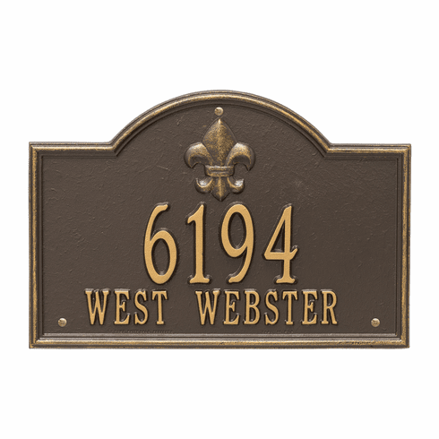 Bayou Vista Standard Wall Two Line Plaque in Bronze and Gold