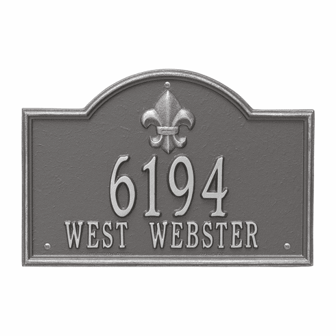 Bayou Vista Standard Wall Two Line Plaque in Pewter Silver