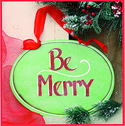 Be Merry Christmas Green Wall Hanging, 12 inch oval