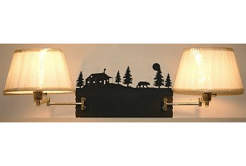 Bear and Cabin Double Swing Arm Wall Lamp
